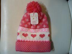 未使用品■女の子用防寒 ニット帽 ピンク 52cm