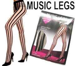 22a)MUSICLEGSシースルーストライプストッキングB系セレブ衣装ダンスダンサータイツ
