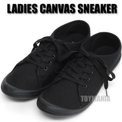 新品 スニーカー レディース 靴 ローシューズ カジュアル キャンバス 黒 ブラック L