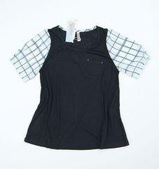 新品タグ付き 袖シフォン素材チェック Tシャツ 黒 M
