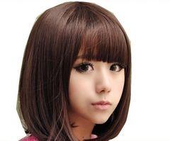 130 女性用ウイッグ 茶 ストレート若い者向きおかっぱ髪型