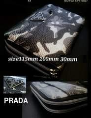 PRADAitaly迷彩柄×黒レザーWジッピー財布新品大人のウォレット