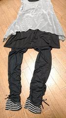 大きいサイズ☆THEORIAの裾切替&シャーリング加工のリボン付レギンス*4L