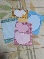 【バラ売】ハガキサイズ メモ帳4種類×5枚 ラブ ハート チェック