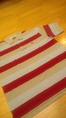 elementカノコボーダーポロシャツ グレー赤 ロゴ刺繍 �@ サイズXXL