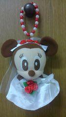 ミニーマウス ウェディング衣裳ビーズぬいぐるみキーホルダー