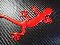 ● Gecko ゲッコーヤモリ メタル製 赤 エンブレム特大サイズ ●