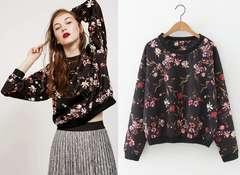 レディストレーナー 裾袖口リブ 花柄 ブラック 大きいサイズ