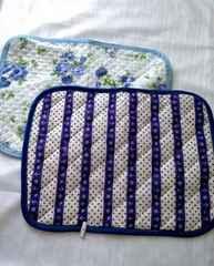 マリン ネイビー ブルー 花柄 枕カバー パッド 2枚セット