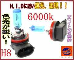 H8●HID級6000k/白ホワイト/2本1セット新品ハロゲンバルブ12V車検対応