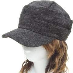 帽子♪リンクルMIXニット ギャザー ワークキャップ*グレーMIX