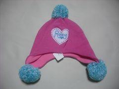 wb513 ROXY ロキシー 耳当て ボンボン付き ニット帽 ピンク