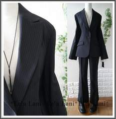 新品*春スーツ/背ぬき/美ラインパンツスーツ*ストライプ*13号