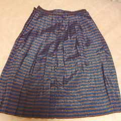 ブルー&ブラウンボーダープリーツスカート