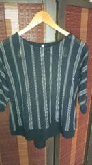 ■春物美品黒ドルマン袖ストライプ裾シフォンカットソー■