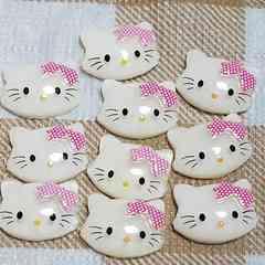 M ☆ 10 コ ☆ (白) チャーミー キティ フェイス ☆ 約 1.4 cm