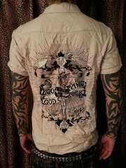 即決エゴトリッピングギタースカル刺繍シャツ!ロックルードギャラリーケルトコブラ清春HYDE