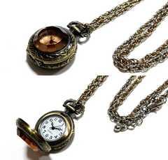美品 アンティーク調 クリスタルカット レトロな懐中時計
