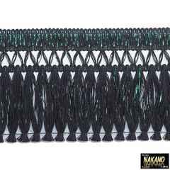 昔ながらのフロントカーテン キララフレンジ(ラメ黒/緑)2.2m