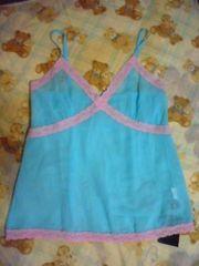 シャーベットカラー ブルー×ピンク シフォン 透けランキャミ セクシー 新品