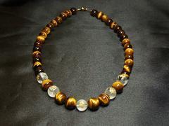金運を招き寄せる 守護梵字本水晶×タイガーアイ数珠ネックレス