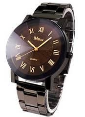 腕時計 ビッグフェイス ブラック×ブラウン