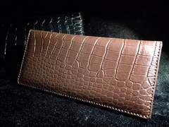 定価24800円男前ヴィンテージ高級クロコ型押し折りたたみ長財布