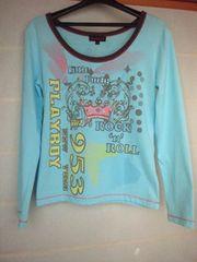 PLAYBOY 長袖 Tシャツ 水色 M プレイボーイ プレボ N2m