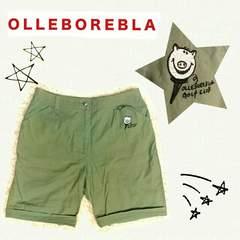 ((OLLEBOREBLA/アルベロベロ))豚サン刺繍と豚サンボタンが可愛い楽チンパンツ