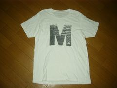 MエムTシャツL白カットソーかすれロゴTMT