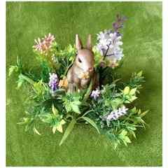 リボンのウサギちゃん 置物♪ ミニチュア 陶器 オブジェ