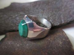 Silver925Ring   純銀、天然石マラカイト 指輪 21g #28  n.52