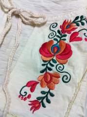 新品★ボヘミアン風刺繍半袖レーストップスL