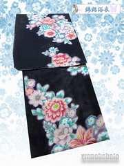 【和の志】女性用浴衣◇綿絽◇Fサイズ◇濃紺系・百合◇16
