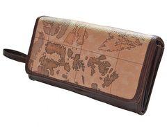 マップ柄アコーディオン長財布 ストラップ付き
