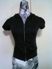黒ブラック 半袖パフスリーブ パーカー Mサイズ ストレッチ素材