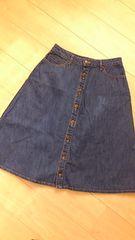 studio clip/スタジオクリップ*前ボタンデニムミディ丈スカート Lサイズ