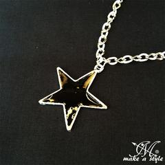 ブラックスター ネックレス 黒星 STAR シルバー 黒133 B系 BLACK