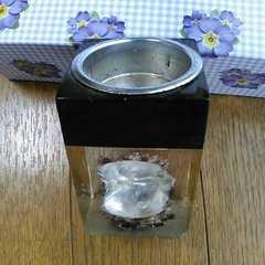 当時物◆昭和レトロ◆真珠貝*入り◆ガラス製*置物【ジャンク】旧車水中花
