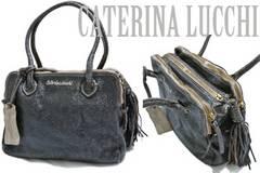 新品CATERINA LUCCHI伊製メタリックヴィンテージ調革バッグ黒