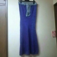 used美品★パープル地にブルーのラメのマーメイドスカート