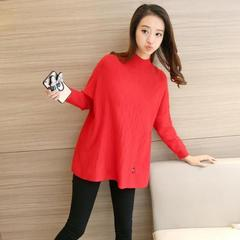 大きいサイズ☆可愛いハイネックセーター 赤 F(送料無料)