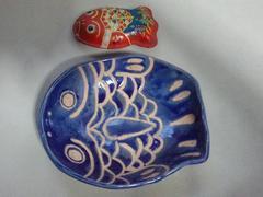 手作り陶器★ハンドメイド★お皿★昭和レトロ★ブリキ缶★平皿
