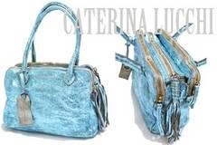 新品CATERINA LUCCHI伊製メタリックヴィンテージ調革バッグ青