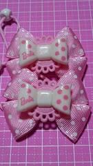 wヘアゴム☆バービーロゴリボン☆ピンクに白水玉柄