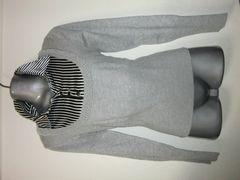 ◆胸元ストライプ&パール敷き詰めデザインニットウール入り春物