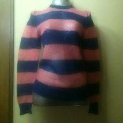 未使用★モヘアのピンク×ネイビーの裏返し風セーター