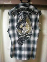 ロエン ROEN バック刺繍 スワロスカル チェックシャツ 44美品