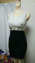 ドレープ 白×ネイビーナイトドレス