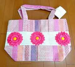 ♪新品タグ付き♪カゴトートバッグ♪大きな花付き♪ピンク